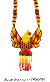 Huichol necklace of yellow hippie style,