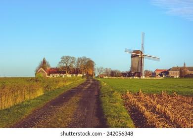 Huisekoutermolen,windmill in Huise, East Flanders, Belgium