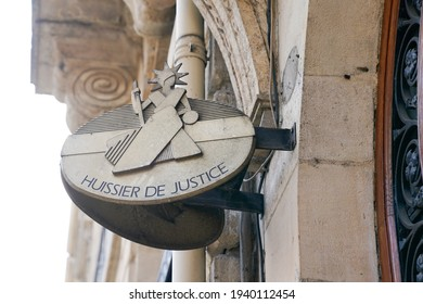 huissier de justice sign and text france means bailiff office in French