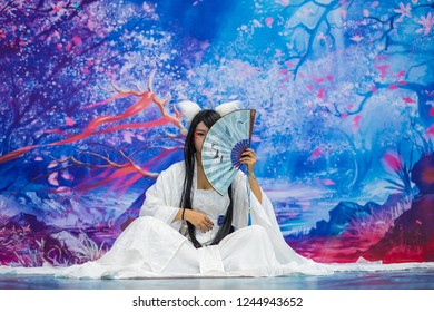 Huizhou, China - AUG 2017: The cosplayer plays the role of Japanese anime in a comics show in Huizhou Convention and Exhibition Center
