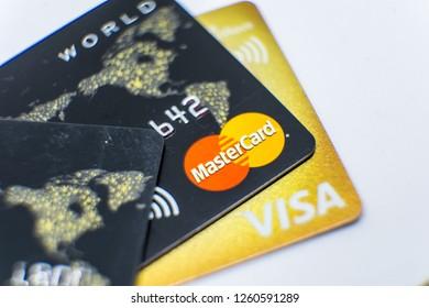 Huizhou, China - DEC 2018: Close up the credit cards with trademark logo of MASTERCARD & VISA