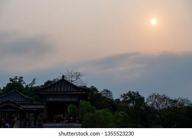 Huizhou, China - MAE 2019: The sun view at Huizhou West Lake Scenic Area