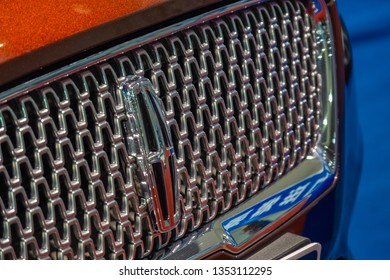 Huizhou, China - MAR 2019: Close up the logo of Lincoln brand on the car engine