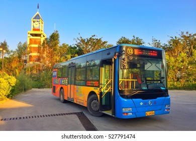 Huizhou, China - November 2016: A city bus stops at the bus station, the bus using natural gas as raw materials for the power