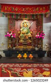 Huizhou, China - SEP 2017: The Huangguang Dadi's statue in Yuanmiao Taoist Temple, near Huizhou West Lake Scenic Spots Area