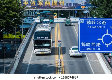 Huizhou, China - SEP 2017: From the overpass, look at the traffic conditions of the South E'ling Road & E'ling Overpass
