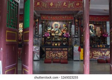 Huizhou, China - SEP 2017: The Three taoist gods Guan Yu, Bao Zheng & Huaguang Dadi's statues in Yuanmiao Taoist Temple, near Huizhou West Lake Scenic Spots Area