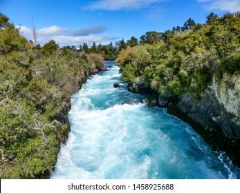 Huka falls fast flowing river, New Zealand