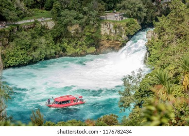 Huka Falls, New Zealand- March 26,2018: Tourist adventure in Huka Falls with jet boat the most famous iconic thriller activity in Taupo, New Zealand