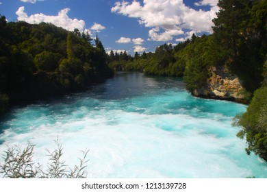 The Huka Falls of the Waikato River in the Taupo District of the Waikato region on the North Island of New Zealand