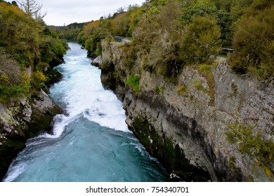 The Huka Falls are waterfalls on the Waikato River that drains Lake Taupo in New Zealand.