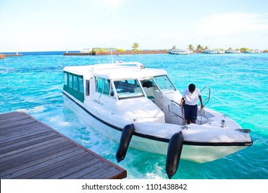 HULHUMALE 2014 - Banyan resort's private boat is landed in a Hulhumale harbor for pickinh up their guest during September trip in Maldives