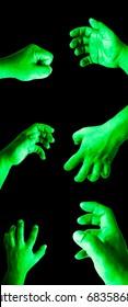 Hulk hand set on black isolate background