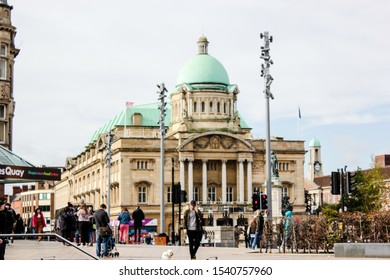 Hull, East Yorkshire/ UK - 10.12.2019: old city center, town in a cloudy autumn day. Main sightseeing of Hull, Great Britain. Hull Maritime and Hull old teatre. Main square. Weekend time.