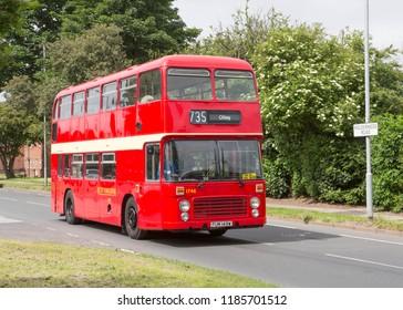 HULL, EAST YORKSHIRE UK, JUNE 10 2018. Ex West Yorkshire 1980 Bristol VRT double deck bus on Holderness Road, Hull.