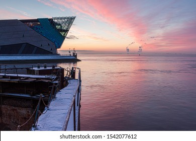 HULL, ENGLAND - JANUARY  16, 2013: The Deep is a submaquarium at the confluence of the River Hull and the Humber estuary and this was a beautiful but icy winter sunrise