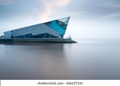 HULL, ENGLAND - JANUARY 27: The Deep is a public aquarium, at the confluence of the River Hull and the Humber estuary, on January 27 2017 in Hull, England (the UK City of Culture 2017).