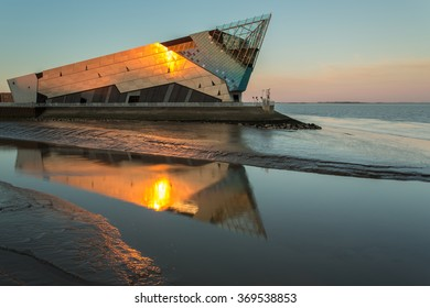 HULL, ENGLAND - JUNE 3: The Deep is a public aquarium situated at Sammy's Point, at the confluence of the River Hull and the Humber estuary on June 3 2013 in Hull, England.