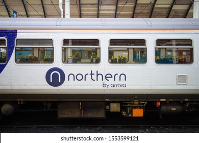 HULL, ENGLAND - OCTOBER 15, 2019: Northern by Arriva logo on train at Hull railway station in England