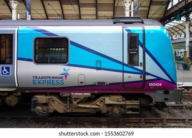 HULL, ENGLAND - OCTOBER 15, 2019: Transpennine Express train at Hull railway station in England