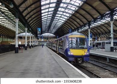 HULL, ENGLAND - OCTOBER 15, 2019: Train at Hull railway station in England