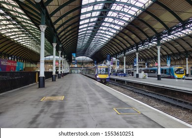 HULL, ENGLAND - OCTOBER 15, 2019: View of the train shed at Hull railway station, England