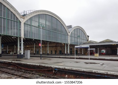 HULL, ENGLAND - OCTOBER 15, 2019: View from the platform outside of the train shed at Hull railway station, England