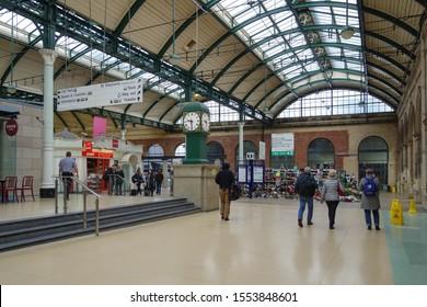 HULL, ENGLAND - OCTOBER 15, 2019: Interior view of Hull railway station, England