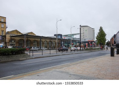 HULL, ENGLAND - OCTOBER 15, 2019: Exterior view of Hull railway station, England