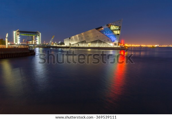 HULL, ENGLAND - OCTOBER 18: The Deep is a public aquarium situated at Sammy's Point, at the confluence of the River Hull and the Humber estuary on October 18 2012 in Hull, England.