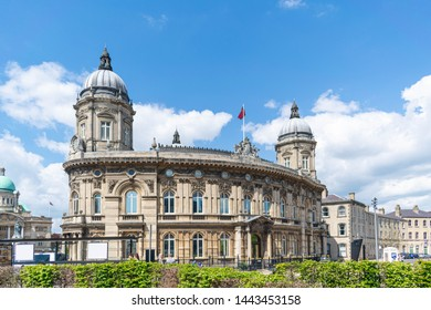 Hull, UK - 12 May 2019: Exterior façade of Hull maritime Museum, city centre of Hull.  The fine building was the 3rd Docks Office built, located in Queen Victoria Square, housing maritime history