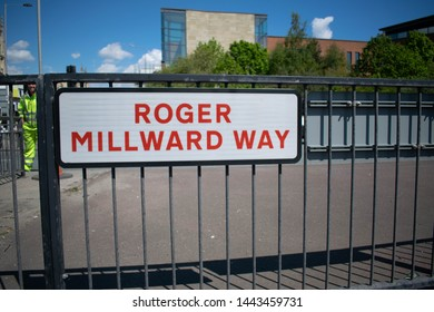 Hull, UK - 12 May 2019: Major road in Hull renamed to commemorate Roger Millward MBE, Hull KR legend who joined the club in 1966 and went on to make more than 400 appearances. Closed for 5 nights.