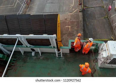 HULL, UNITED KINGDOM - JUNE 11, 2018: Unidentified crewmen on the P&O Ferry the Pride Of York prepare to depart for Zeebrugge