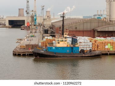 HULL, UNITED KINGDOM - JUNE 11, 2018: Tug 'Beamer' tied up alongside King George Dock
