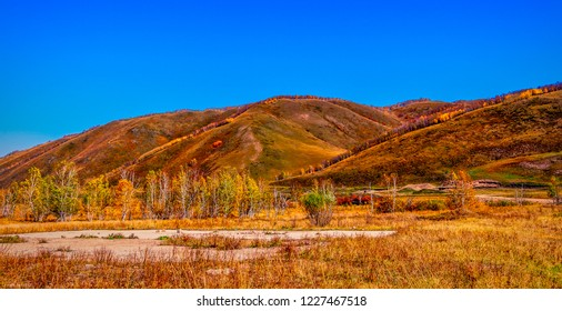 Hulun Buir grasslands during autumn in Inner Mongolia, China