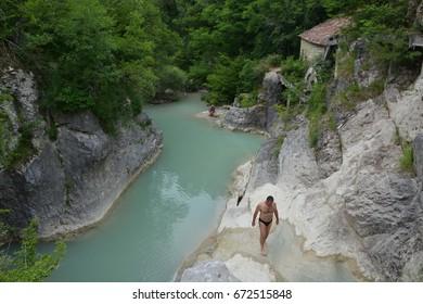 Hum, Croatia - June 14, 2017 - River Mirna in Istria, Croatia