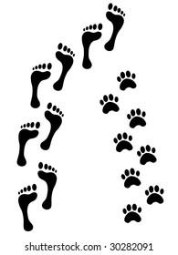 Human and animal footsteps