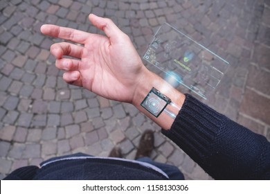 human arm with digital implants and microchips under the skin of the future. futuristic technology with biometric implants