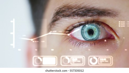 human being futuristic vision, vision and control and protection of persons, control and security in the accesses.Concept of: dna system, scientific technology and science.