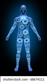 Human body function health symbol medical icon gears cogs anatomy healthcare