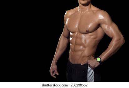 Human body isolated on black background.