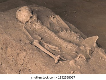 Human body skeleton with bones covered by dirty sand