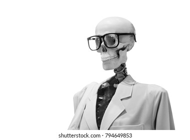 human bone model wearing glasses in doctor suite on white isolate
