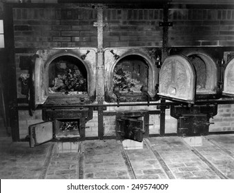 Human bones in the crematorium of Buchenwald concentration camp after liberation. U.S. 3rd Army arrived at the camp near Weimer, Germany, on April 11, 1945, during World War 2.