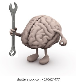 human brain with arms and legs and wrench on hand, 3d illustration