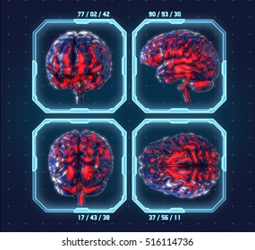 Human brain with futuristic hud interface background. Concept, 3d render illustration