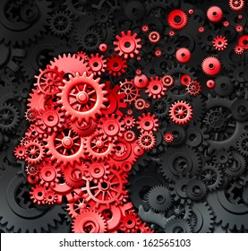 Human brain injury and neurological memory loss due to physical concussion trauma and head injury or alzheimer disease caused by aging with red gears and cogs in the shape of a thinking mind.