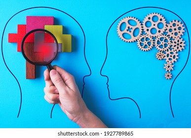 Human brain is made gear mechanism and colourful shapes on blue background. The brain is viewed through a magnifying glass. Brain disturbance concept, brain disorder. Different thinking.