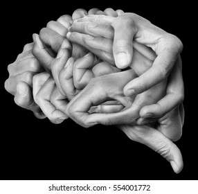 A human brain made ??with hands, different hands are wrapped together to form a brain