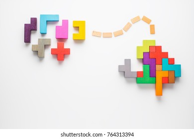 Human brain is made of multi-colored wooden blocks. Creative medical or business concept. Logical tasks. Conundrum, find the missing piece of the proposed.